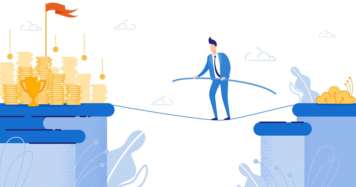 An animated illustration of a business man in a blue suit and tie walks a tightrope between two plateaus, with a small yellow grassy knoll and bush situated at the point from which he departs, and piles of gold, a glistening trophy and a towering red victory flag awaiting him at the destination