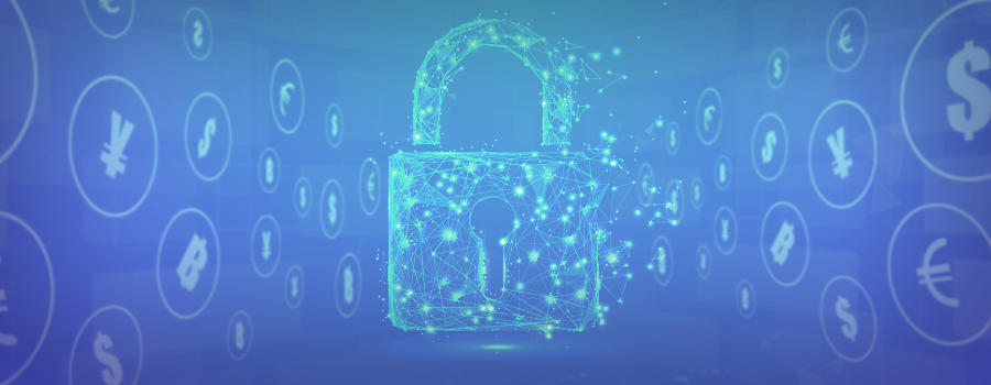 Against a blue background, the outline of a padlock appears made up of illuminated, interconnected blue orbs. joined to one another through blue lines in a similar tone, with the symbols of several national currencies displayed on either side of the padlock, positioned at angle and gradually disappearing into the background.