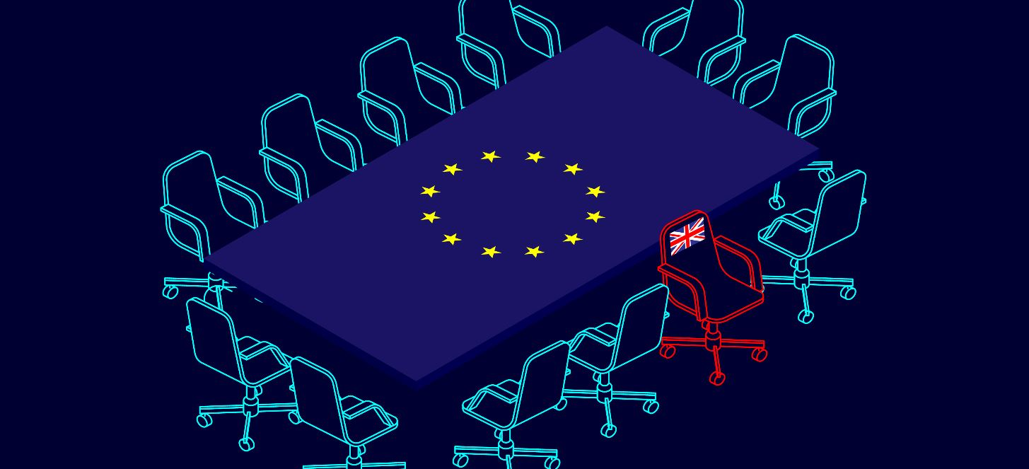 Against a deep navy background, a rectangular table adopting the form and colours of the EU flag is seen at an angle, from above, with a series of turquoise ooutlines of office chair surrounding it, all of which face inwards, while one identically shaped outline in red faces away from the table, with the British Union Jack flag emblazoned on its back.