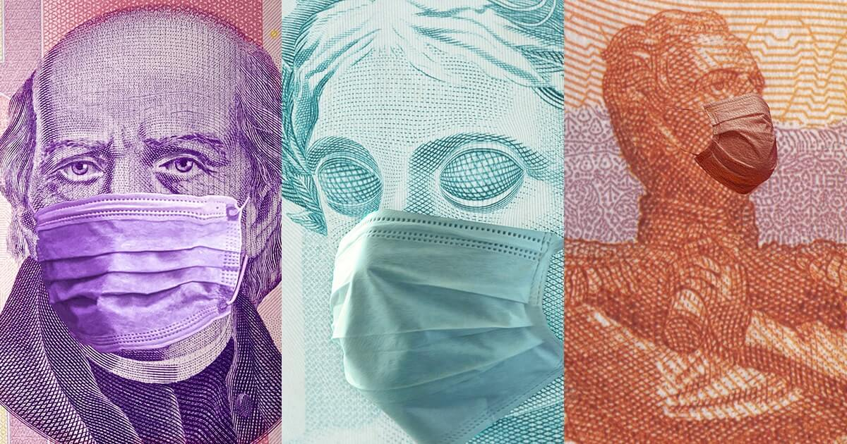 The fasciae visible on the Russian rouble, Mexican peso and Brazilian real notes are pictured side by side, each figure wearing a surgical mask