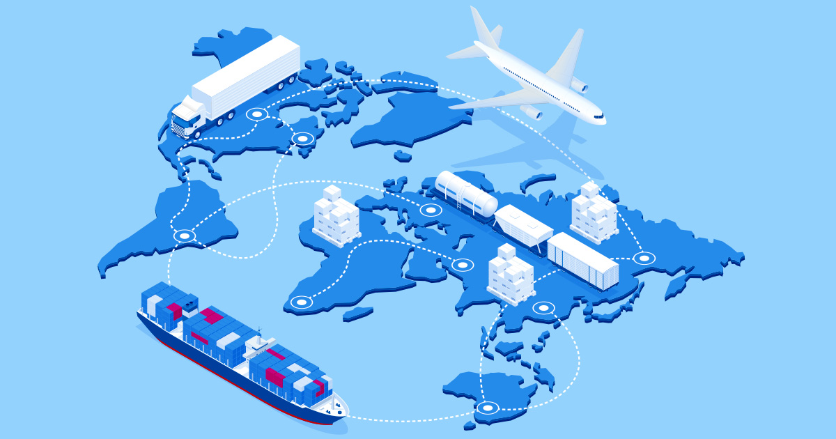 A semi-dark blue outline of the world map is positioned diagonally on a sky-blue surface, with different forms of freight transport, including a lorry, a ship carrying red and blue containers and an airplane, hovering above it and advancing in a circular fashion around the globe and its various continents, with a dotted white line mapping their sinuous movements, punctuated at certain points by a larger encircled white dot acting as a location marker.